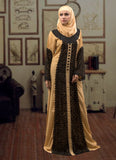 Black and Beige Color Trendy Abaya