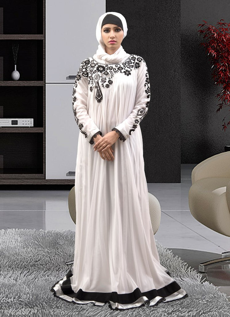 Long Party Wear Full Sleeve Solid Embroidery Abaya