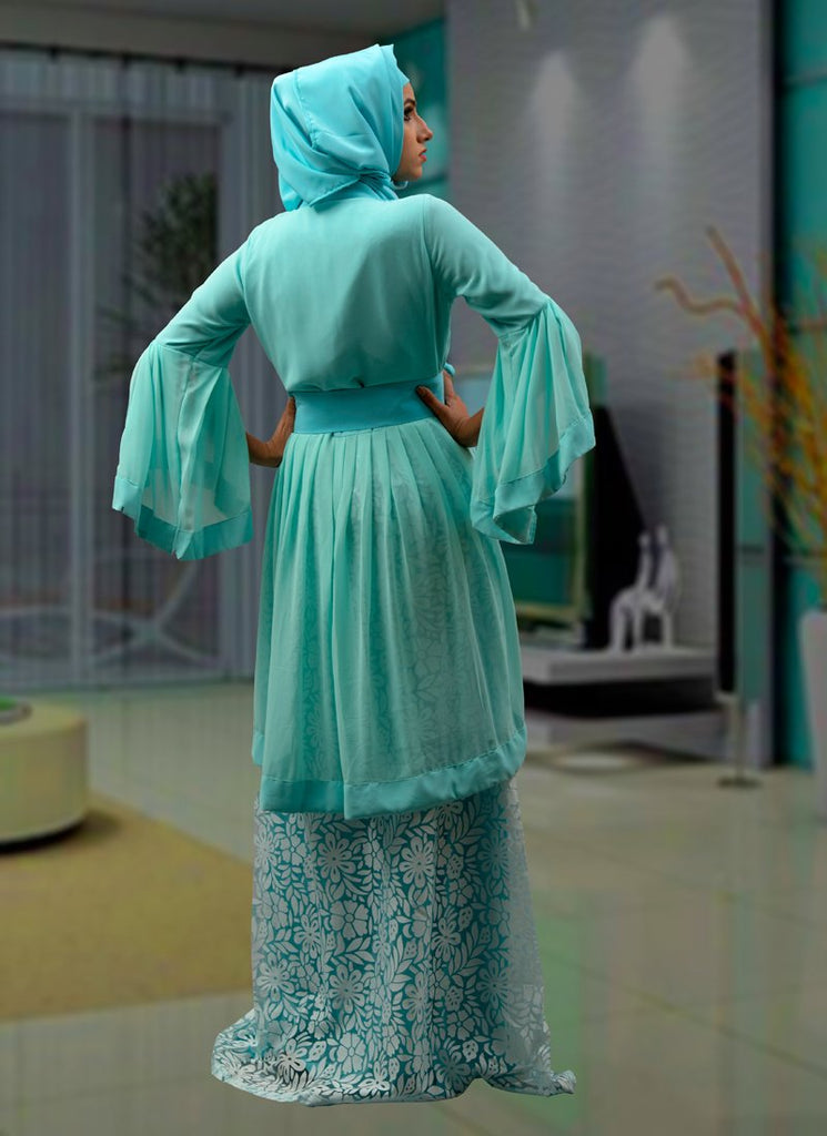Modest Aqua Blue Color Maxi Abaya