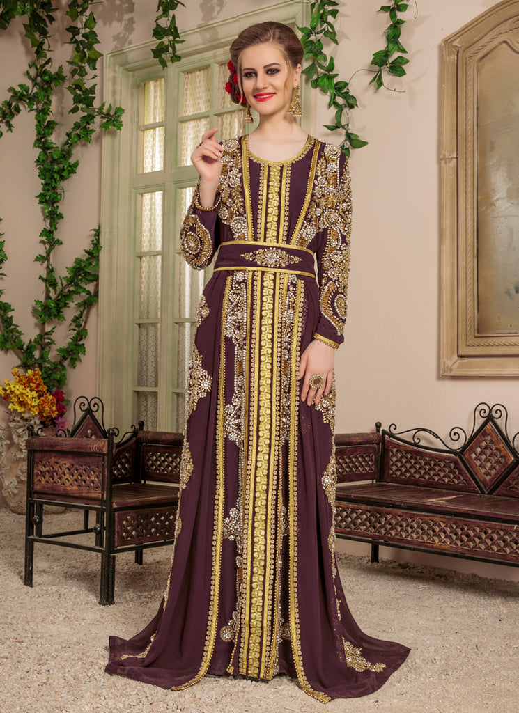 Woman Brown Color Moroccan Style Kaftan