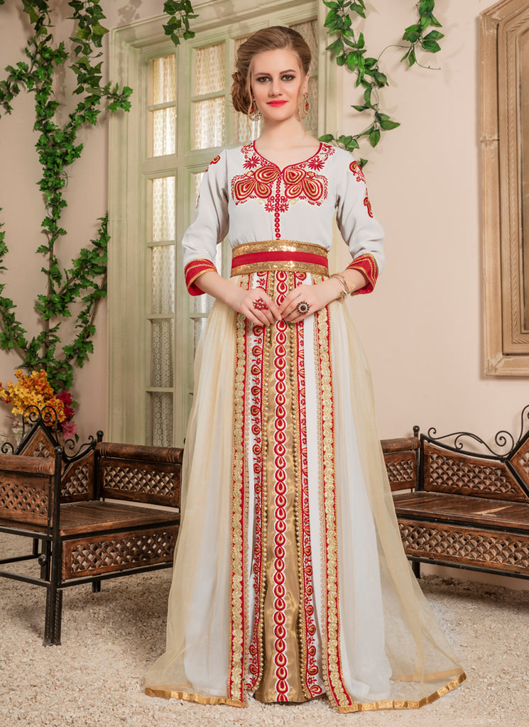 Woman Off White and Gold Color Embroidered Moroccan Style Kaftan