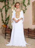Woman White Color Long Party Wear Free Size Kaftan