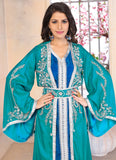 Sea Green Moroccan Kaftan Dress - Islamic Party Wear