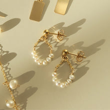 Load image into Gallery viewer, FRESHWATER PEARL TEARDROP STUD EARRINGS - Yellow Gold & Silver