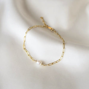 FRESHWATER PEARL CABLE BRACELET - Yellow Gold
