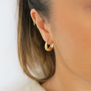 THICK HUGGIE HOOPS - Yellow Gold