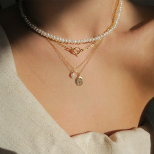 FRESHWATER PEARL NECKLACE - Yellow Gold & Silver