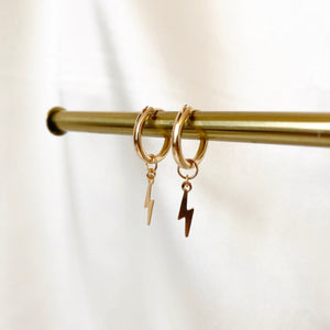 SMALL LIGHTNING HOOPS - Yellow Gold & Silver