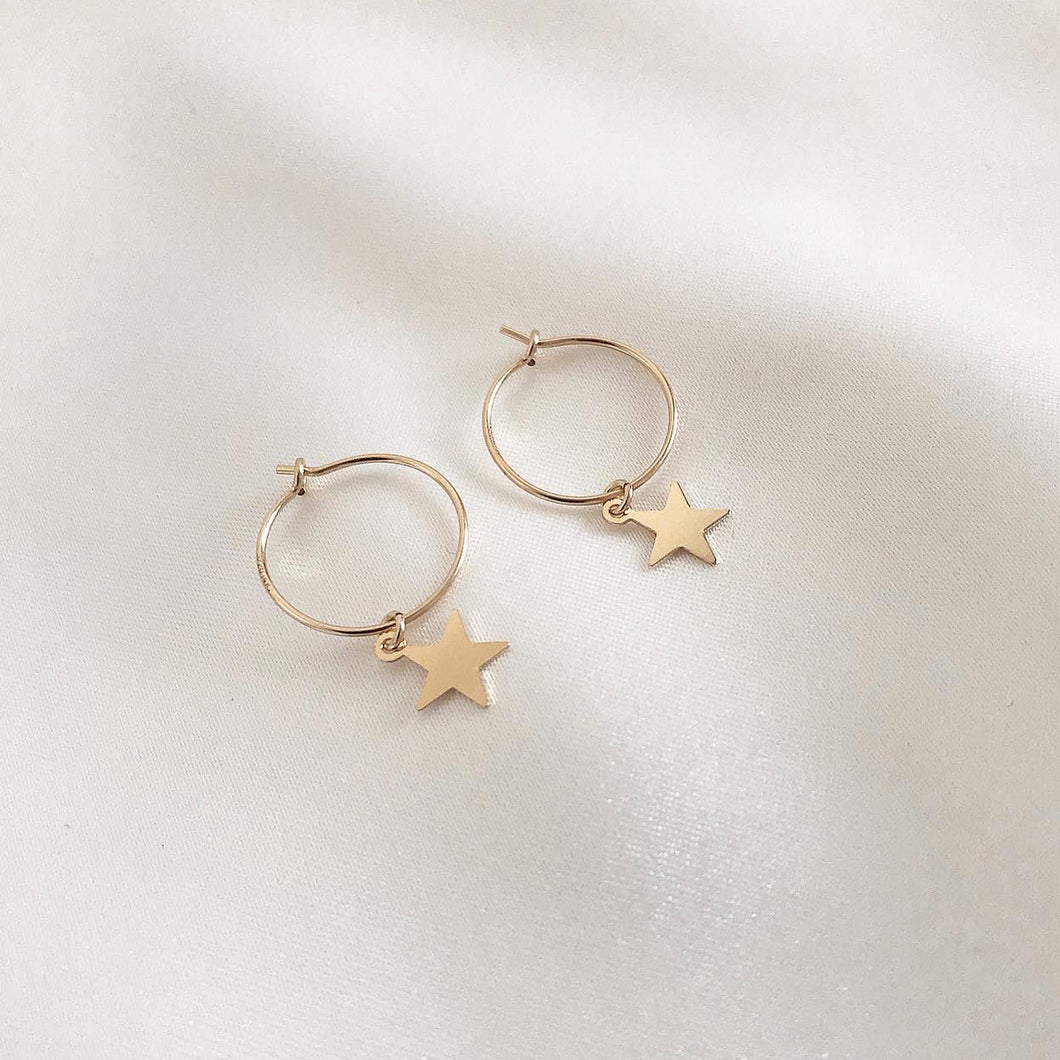 MINI STAR HOOPS - Silver & Yellow Gold