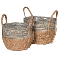 Set of 2 Corn and Straw Baskets 35cm | Annie Mo's