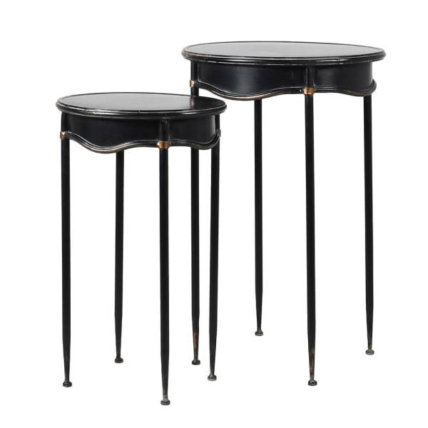Black Iron Curved Set of Two Nesting Tables 76cm | Annie Mo's