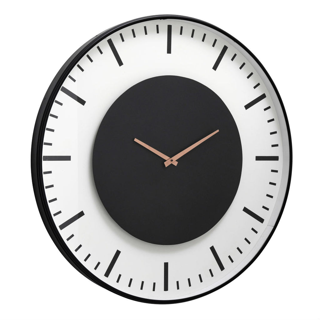 Large Black and Whit Contemporary Clock 75cm | Annie Mo's