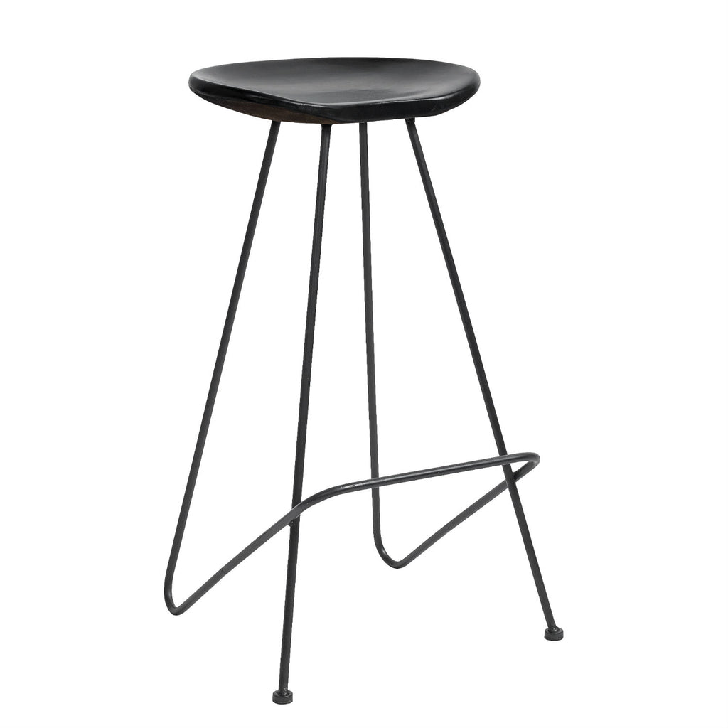 Black Iron and Wood Seat Bar Stool | Annie Mo's