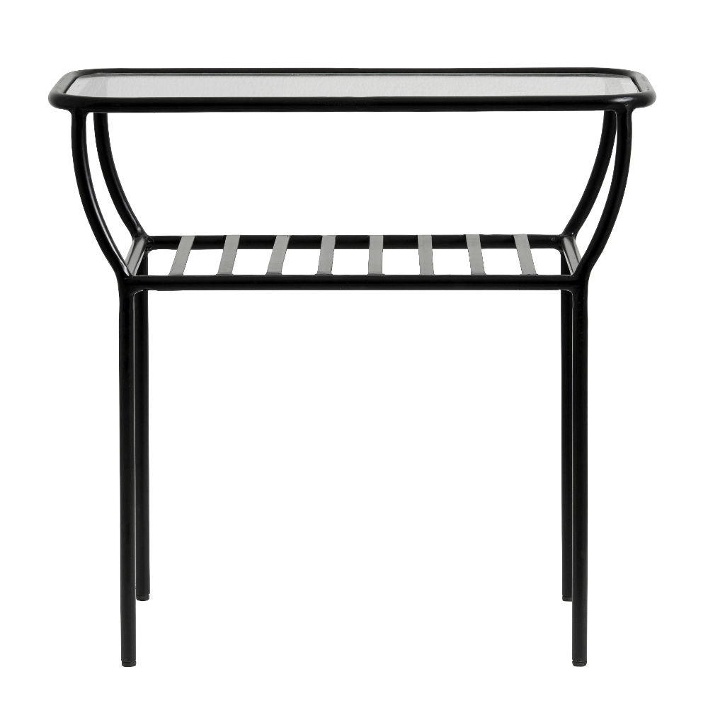 Black Side Table with Glass Top and Under Shelf | Annie Mo's
