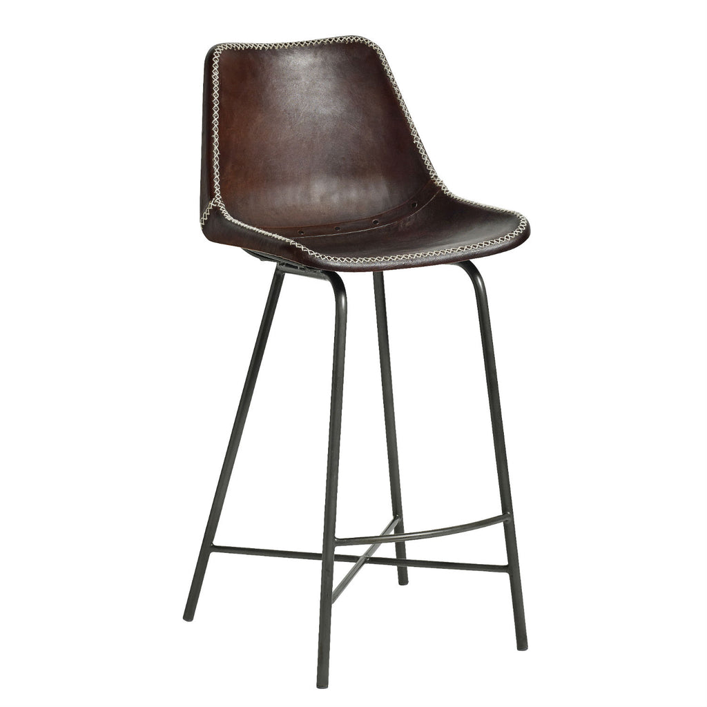Bar Stool with Dark Brown Leather Seat and Iron Legs | Annie Mo's