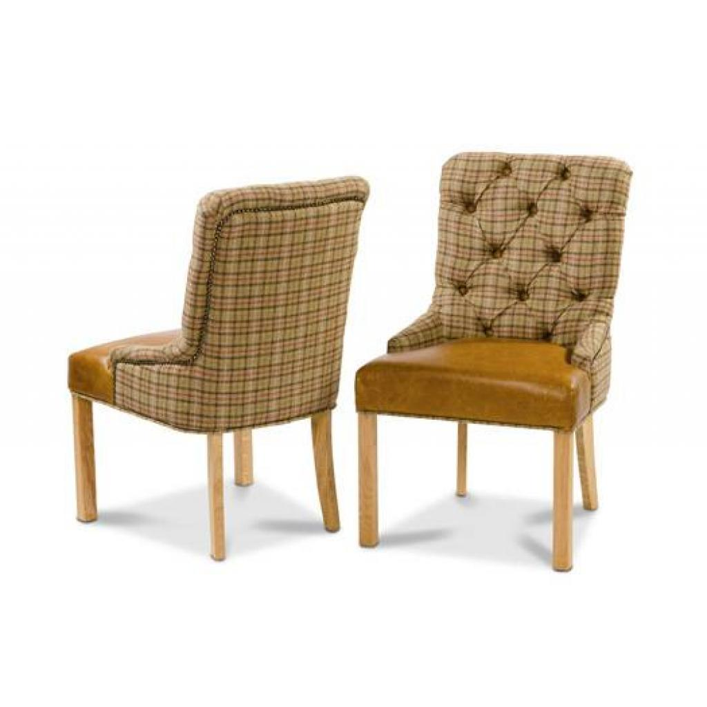 Buttoned Back Dining Chair - Harris Tweed
