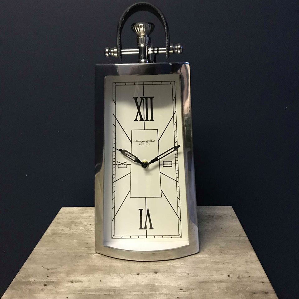 Nickel and Black Mantel Clock with Leather Handle
