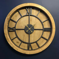 Emmerdale Large Wood and Metal Round Clock 100cm