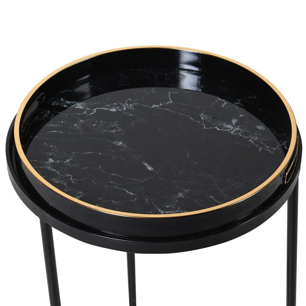 Set of Two Marble Effect Side Tables | Annie Mo's