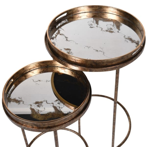 Set of Two Golden Mirror Tray Tables 72cm | Annie Mo's