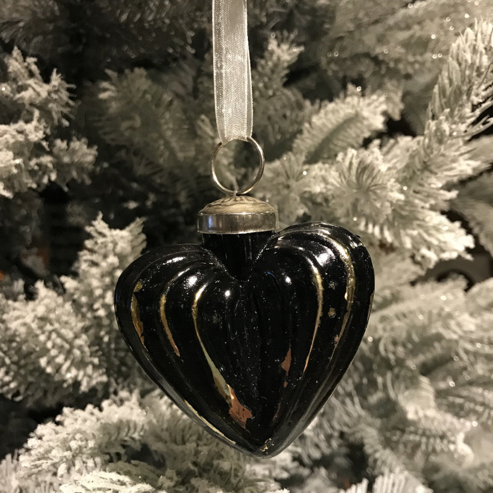 Black Gold Hanging Heart Baubles | Annie Mo's