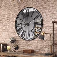 Oversized Skeleton Wall Clock Mirror 100cm