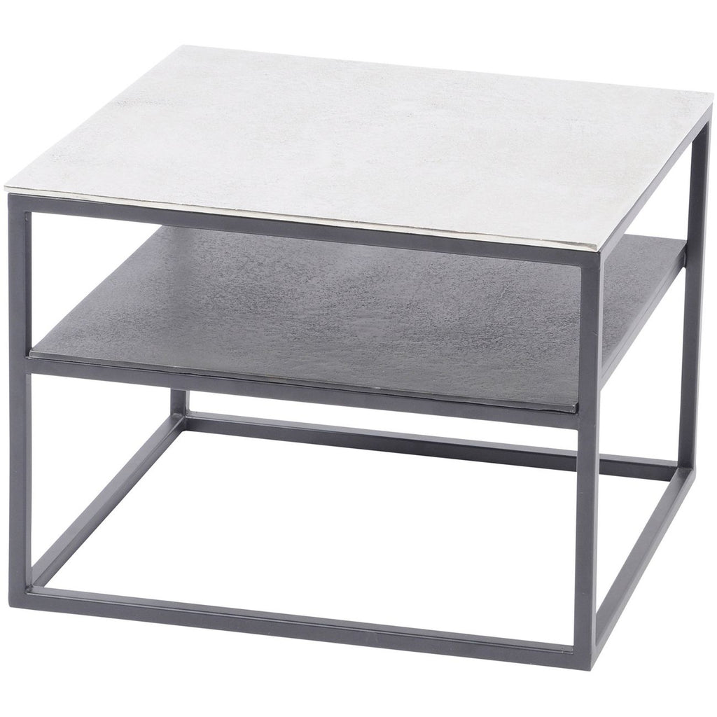 Aluminium and Iron Side Table with Shelf 48cm | Annie Mo's