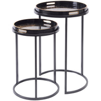 Set of Two Tray Top Coral Design Nesting Side Tables 69cm | Annie Mo's