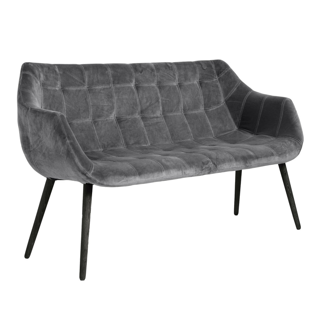 Grey Velvet Sofa Bench with Black Wooden Legs | Annie Mo's