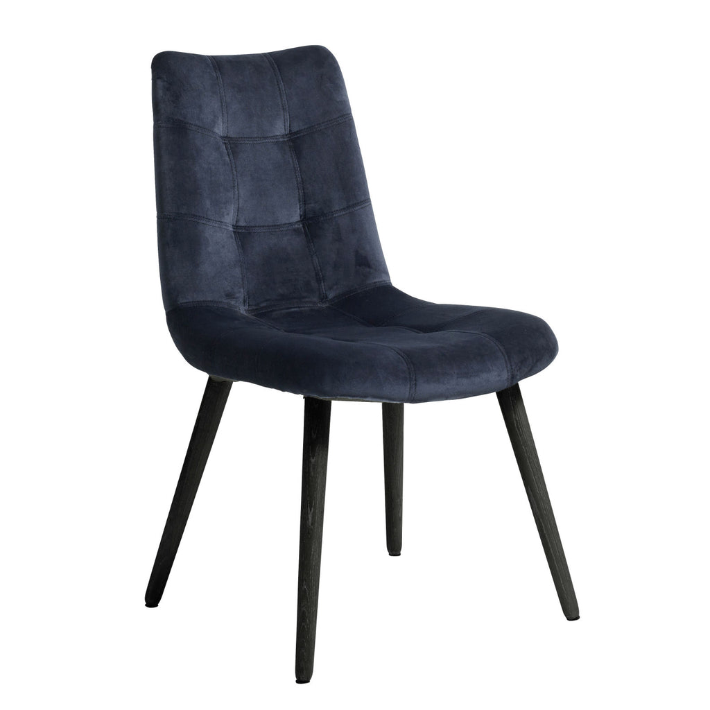 Navy Velvet Dining Chair with Black Legs | Annie Mo's
