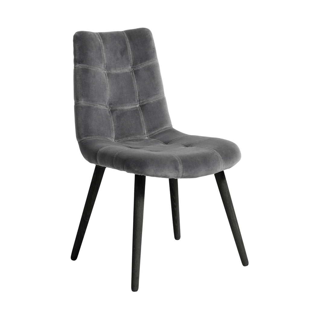 Grey Velvet Dining Chair with Black Legs | Annie Mo's