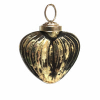 Black Gold Hanging Heart Bauble - Medium | Annie Mo's