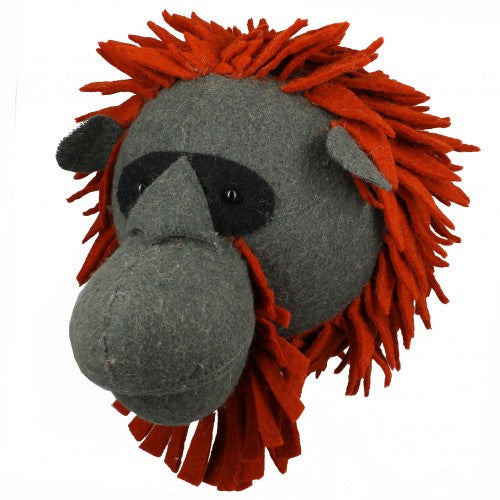 Felt Heads for Walls - Large Sizes Jungle and Wild - Orangutan | Annie Mo's