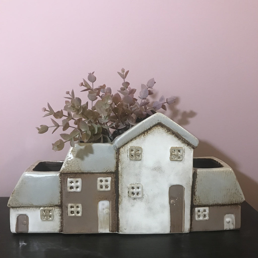White and Brown Ceramic Planter Houses 17cm