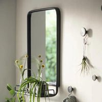 Black Metal Mirror with Shelf | Annie Mo's