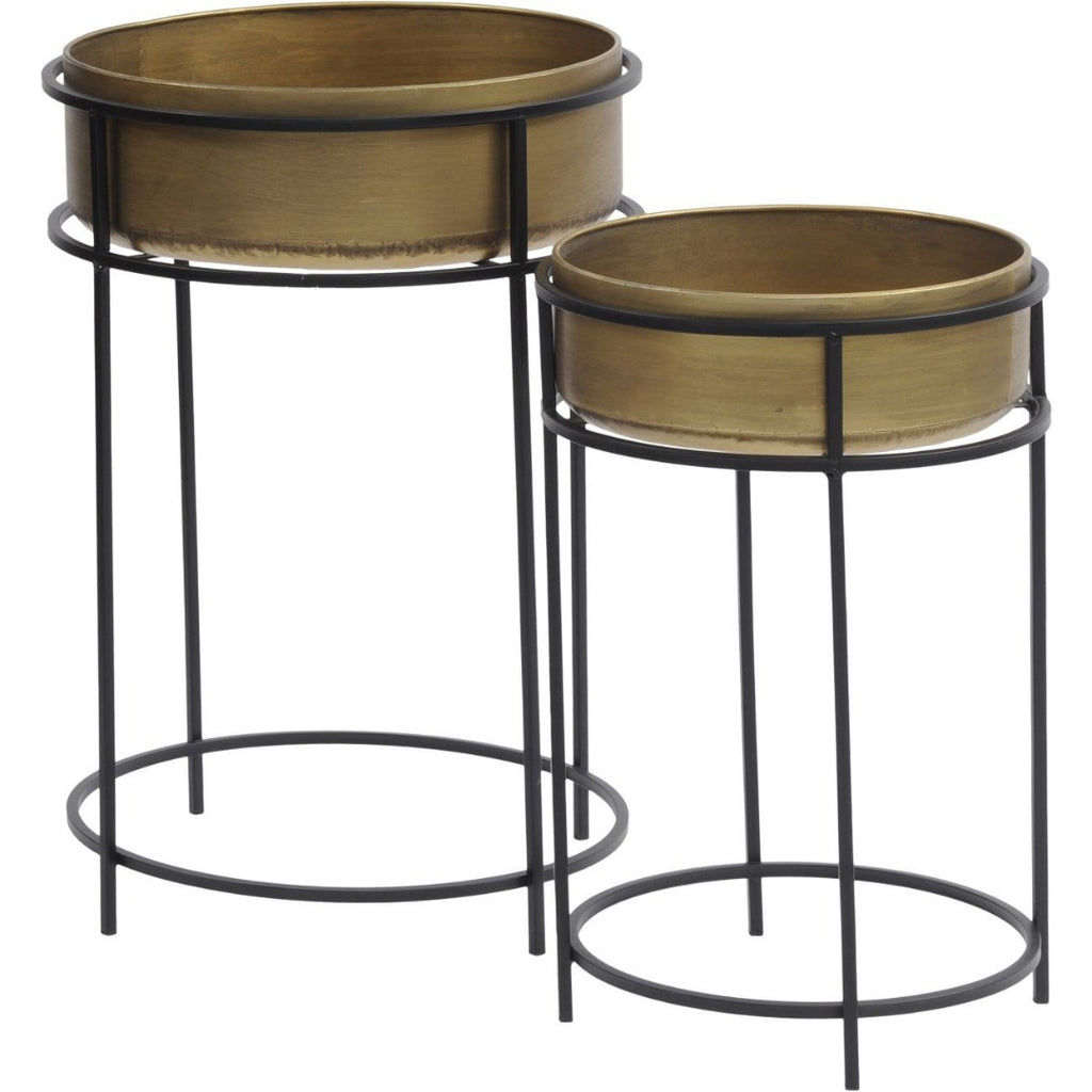 Set of Two Golden Planters with Tall Black Metal Stands 65cm | Annie Mo's