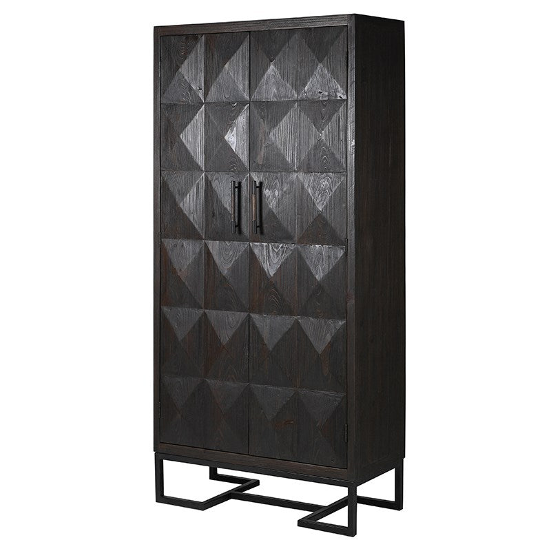 Charcoal Diamond Relief Tall Cabinet | Annie Mo's