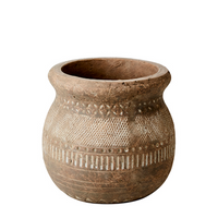 Antiqued Beige Black Terracotta Vase 19cm | Annie Mo's