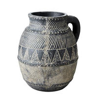 Antiqued Black Beige Terracotta Pot 25cm | Annie Mo's