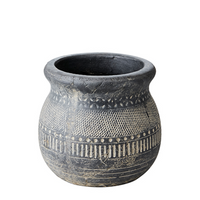 Antiqued Black Beige Terracotta Vase 19cm | Annie Mo's