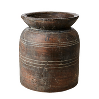 Antiqued Brown Terracotta Vase 28cm  | Annie Mo's