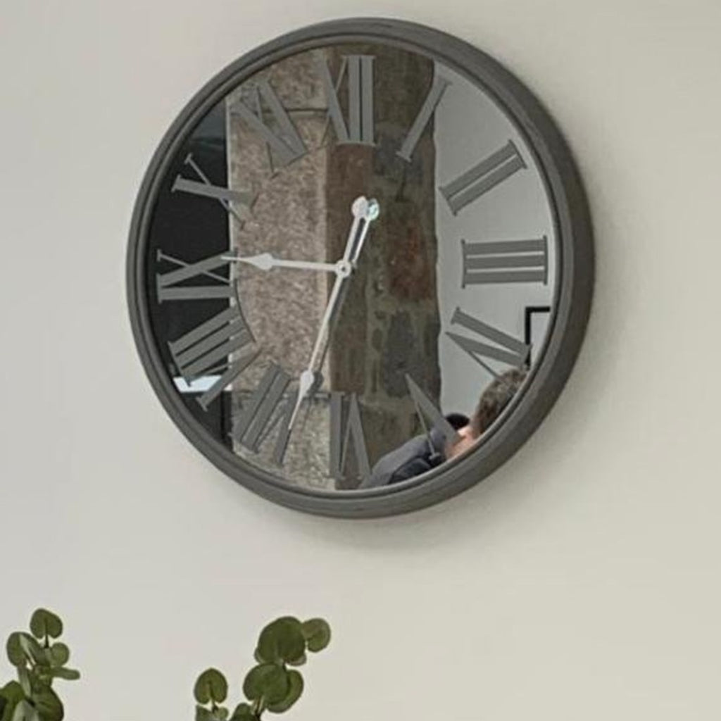 Antiqued Grey Mirrored Wall Clock 68cm