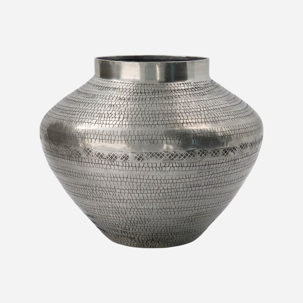 Antiqued Metal Vase 23cm | Annie Mo's