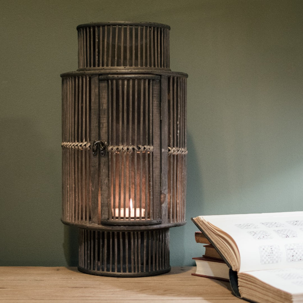 Black Bamboo Curved Lantern 54cms High | Annie Mo's