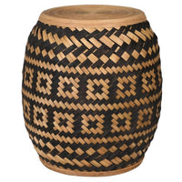 Black and Tan Rattan Stool 44cm High | Annie Mo's