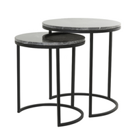 Brown Marble and Iron Nesting Tables 53cm | Annie Mo's