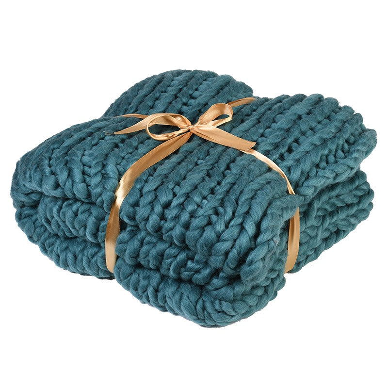 Teal Chunky Iceland Thick Yarn Blanket | Annie Mo's