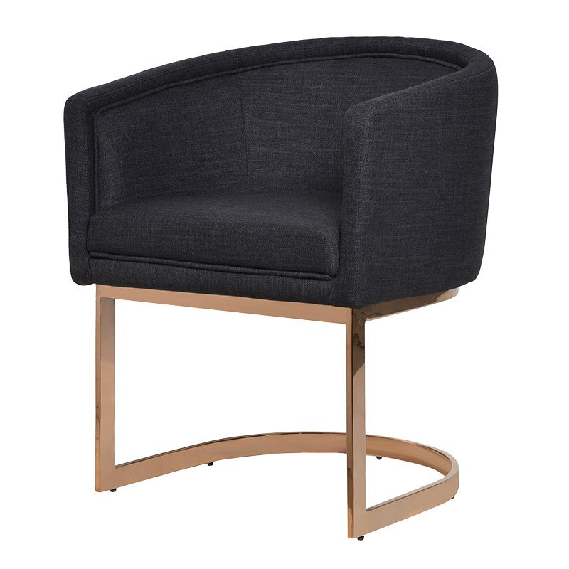 Black Dining Chair with Rose Gold Effect Metal Frame | Annie Mo's