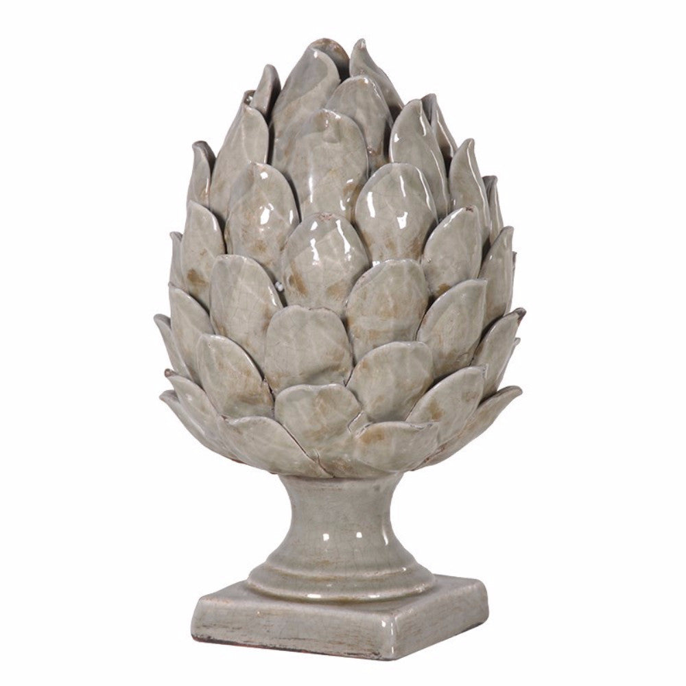 Ceramic Green Artichoke On Base | Annie Mo's