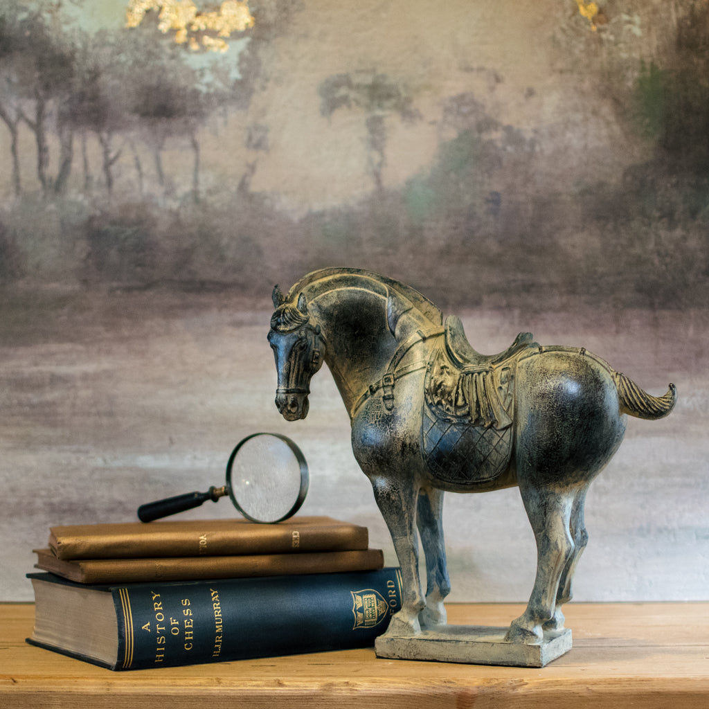 Chinese Inspired Black Rustic Horse 30cm | Annie Mo's